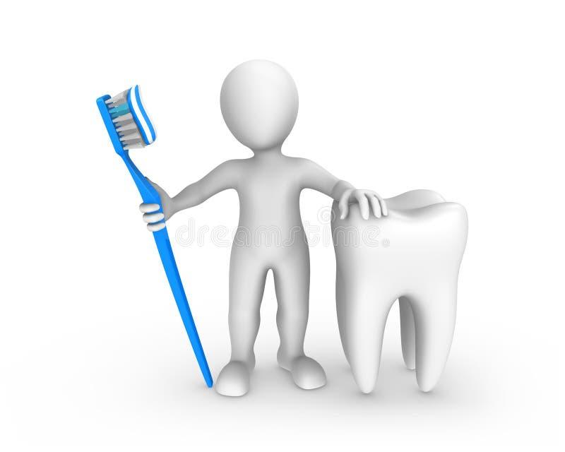 weißer Mann 3d mit dem großem Zahn und Zahnbürste mit Zahnpasta vektor abbildung