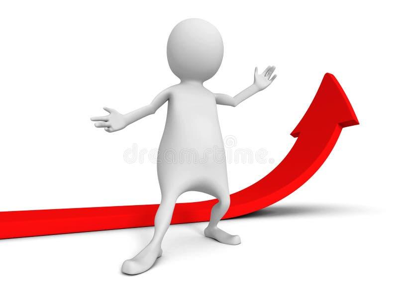 Weißer Mann 3d mit dem Steigen herauf wachsenden roten Pfeil stock abbildung