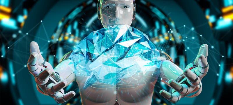 Weißer Mann Humanoid, der Wiedergabe der künstlichen Intelligenz 3D schafft stock abbildung