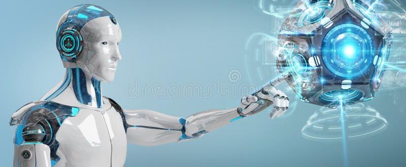 Weißer Mann Humanoid unter Verwendung der Wiedergabe der Brummenüberwachungskamera 3D lizenzfreie abbildung