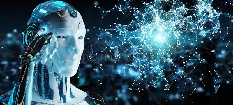 Weißer Mann Humanoid unter Verwendung digitalen Kugel hud Schnittstelle 3D renderin stock abbildung