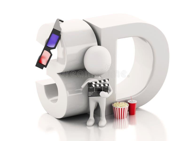 Weißer Mann mit Kinoscharnierventil, -popcorn, -getränk und -gläsern 3d vektor abbildung