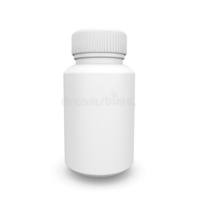 Weißer medizinischer Plastikbehälter für Pillen oder Kapseln stockfotografie