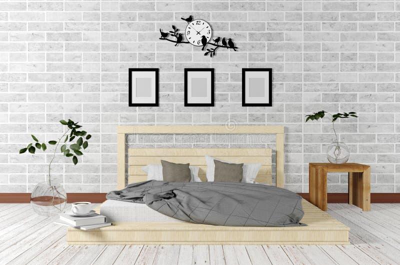 Weißer minimaler und Dachbodenart-Schlafzimmerinnenraum im einfachen lebenden Konzept lizenzfreie stockfotos