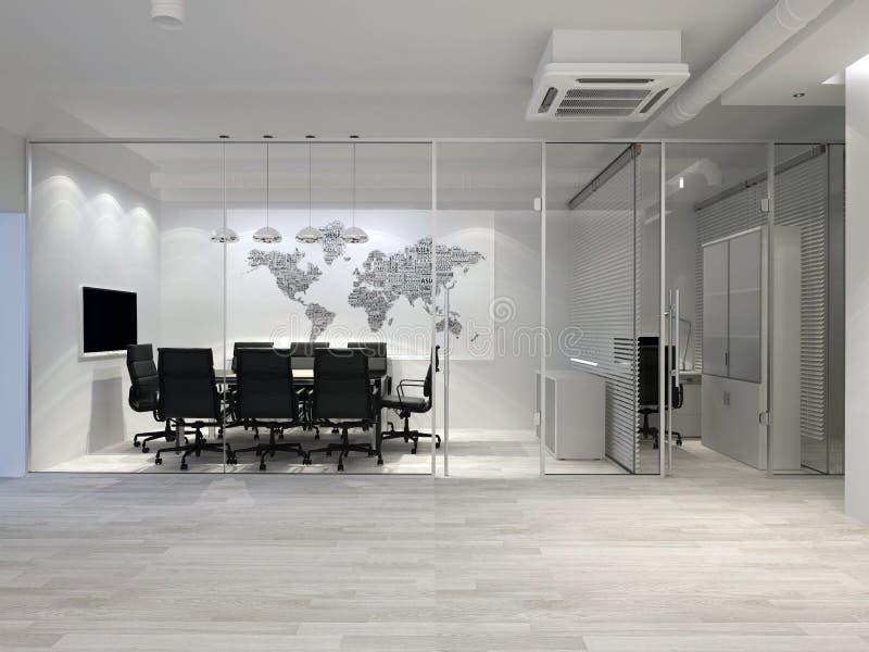 Weißer moderner Büroinnenraum Tabelle und Stühle Wiedergabe 3d stock abbildung