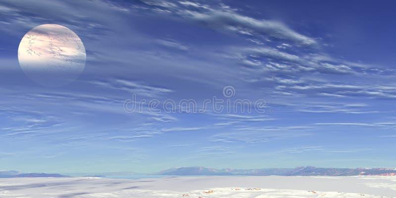 Weißer Mond und blauer Himmel lizenzfreie abbildung