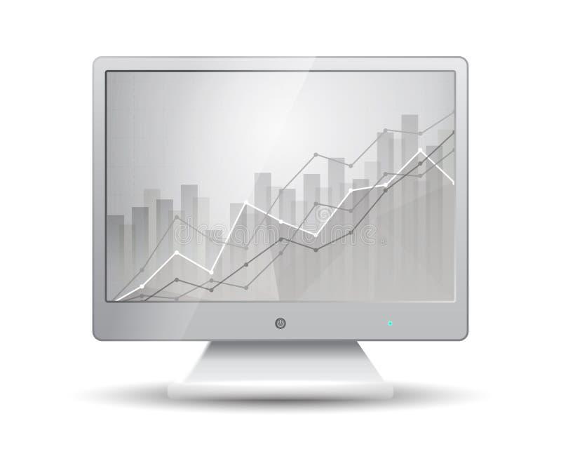 Weißer Monitor mit dem Wirtschaftsstatistikdiagramm, das verschiedene Kraft zeigt stock abbildung
