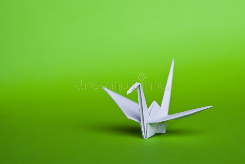 Weißer origami Vogel