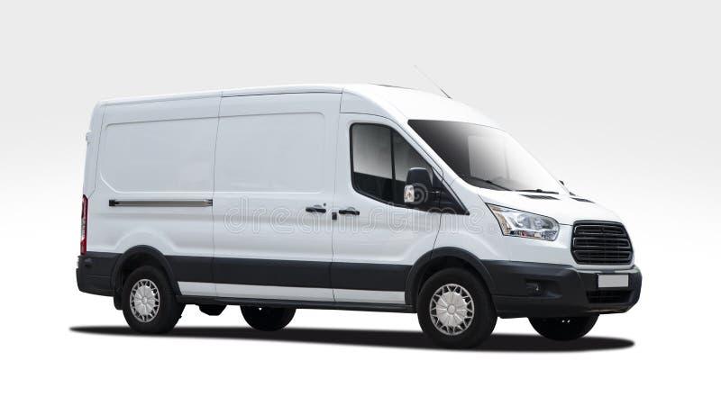 Weißer Packwagen Ford Transit lokalisiert auf Weiß stockbild