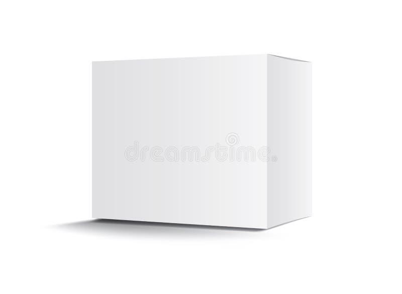Weißer Paketkastenvektor, Verpackungsgestaltung, 3d Kasten, Konzeption des Produkts, realistisches Verpacken für kosmetisches o stock abbildung