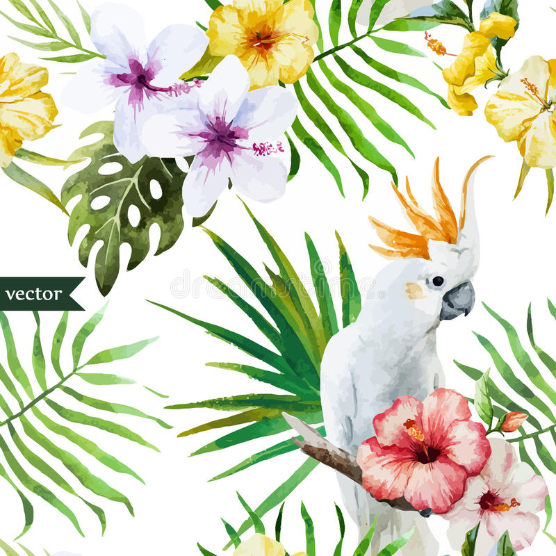 Weißer Papagei, Hibiscus, Tropisch, Palmen, Blumen, Muster, Tapete ...