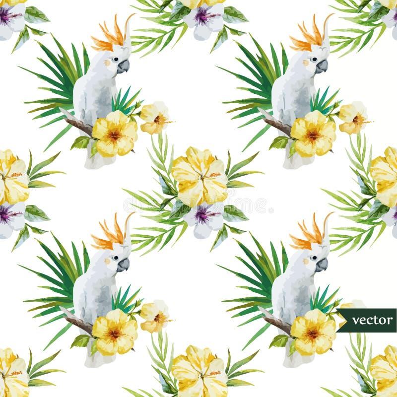 10 Weißer Papagei, Hibiscus, Tropisch, Palmen, Blumen, Muster ...