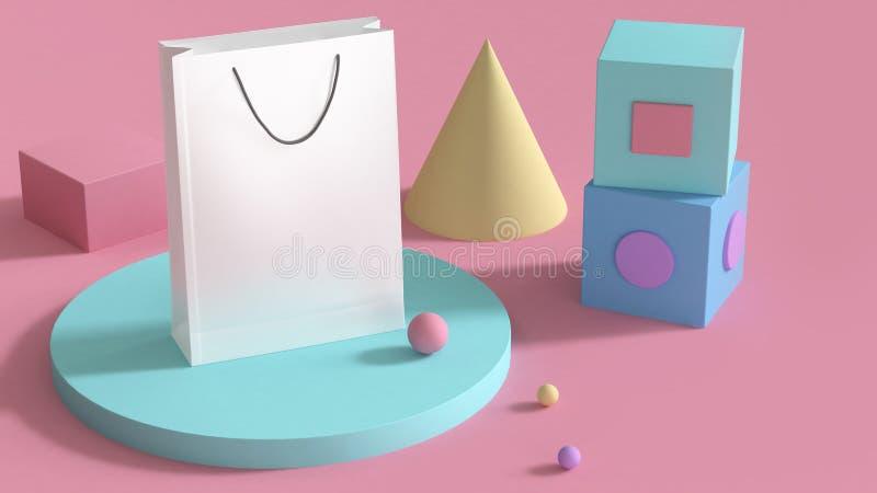 weißer Papiertütespott herauf bunten Satz der abstrakten geometrischen Form 3d auf rosa Hintergrund 3d Geschäftseinkaufskonzept ü lizenzfreie abbildung