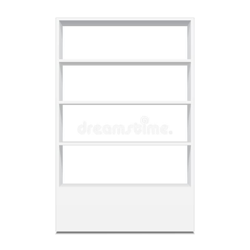 Weißer Pappboden-Präsentationsständer für leere Anzeigen des Supermarkt-freien Raumes mit Regalen verspotten oben Illustration lo vektor abbildung