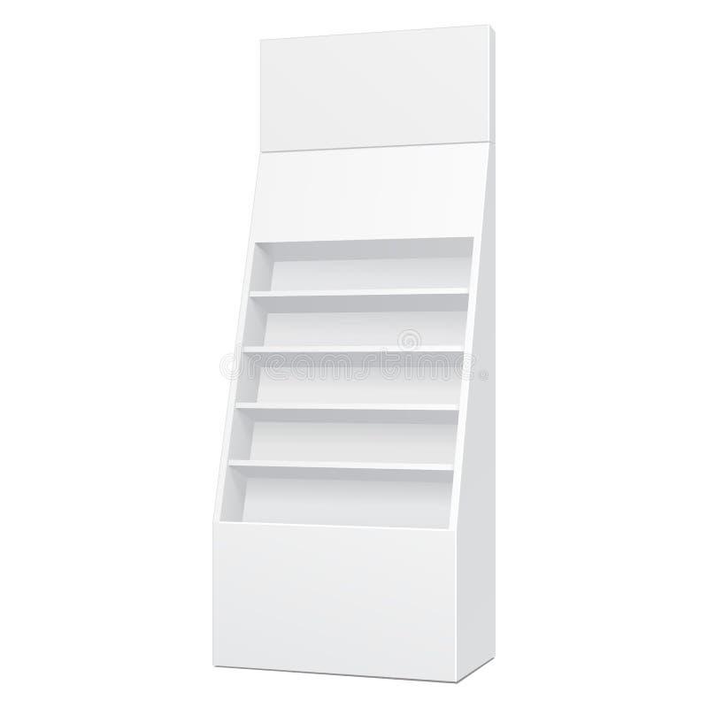 Weißer Pappboden-Präsentationsständer für Supermarkt-leere Anzeigen Regal-Produkte verspotten oben Illustration lokalisiert vektor abbildung