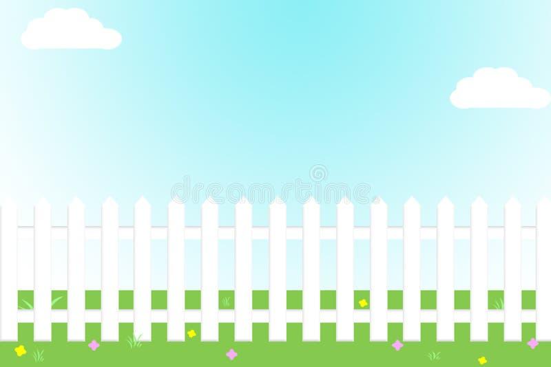 Weißer Pfosten-Zaun stock abbildung