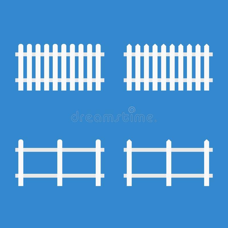 Weißer Pfosten-Zaun lizenzfreie abbildung