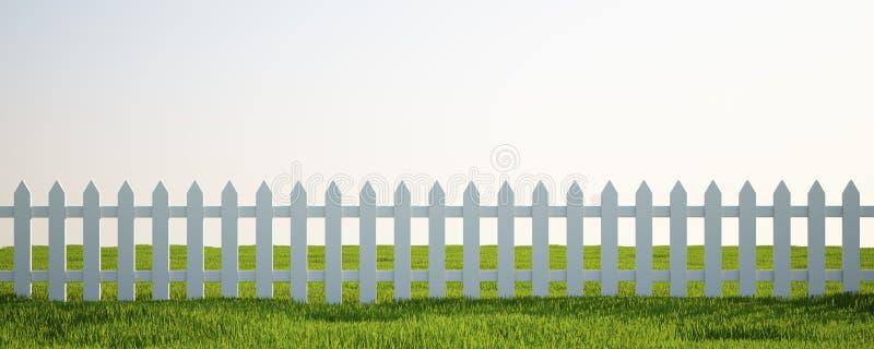 Weißer Pfostenzaun auf Gras lizenzfreie abbildung
