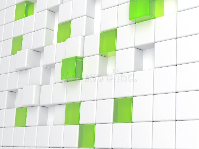 Weißer Plastik- und des grünen Glaseswürfel stock abbildung