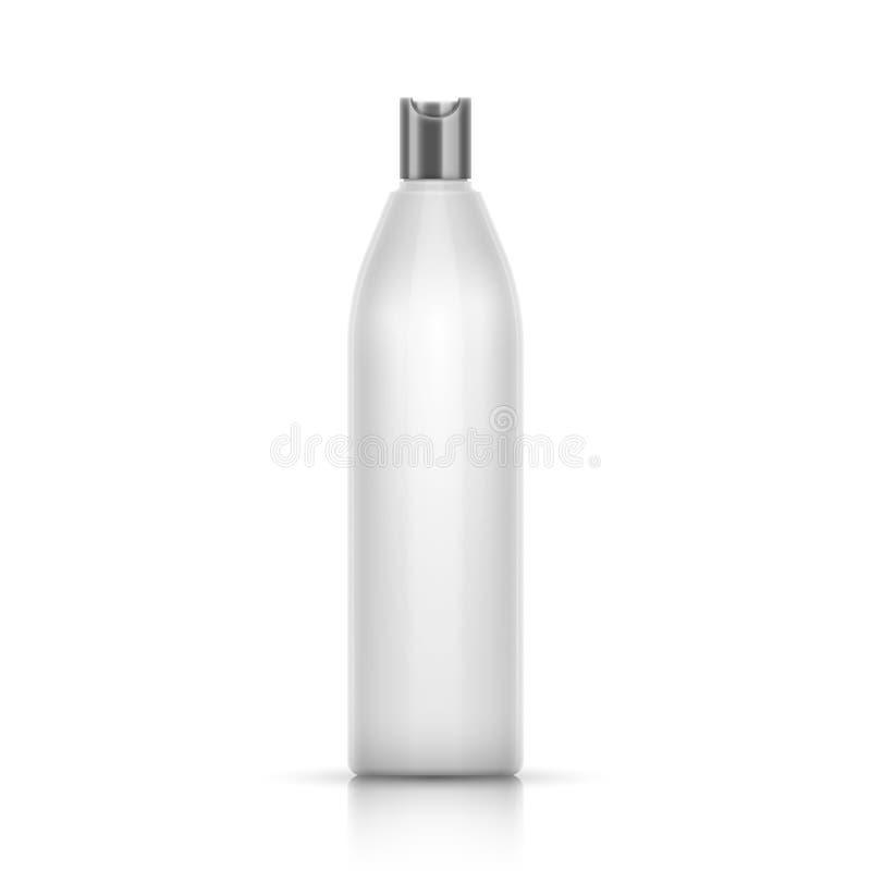 Weißer Plastikbehälter für Shampoo lizenzfreie abbildung