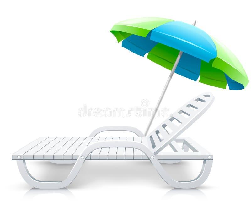 Weißer Plattformstuhl mit Regenschirmstrandinhalt stock abbildung