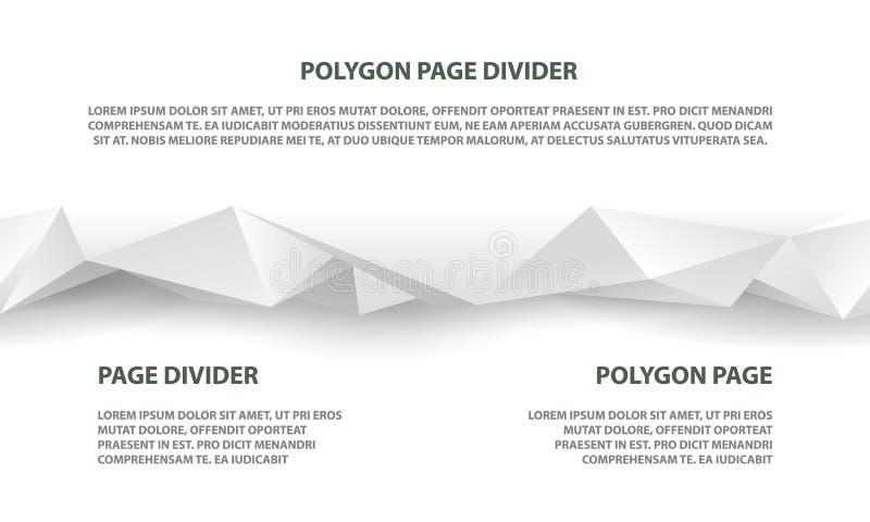 Weißer polygonaler nahtloser Teiler für Website und Landungsseite lizenzfreie abbildung