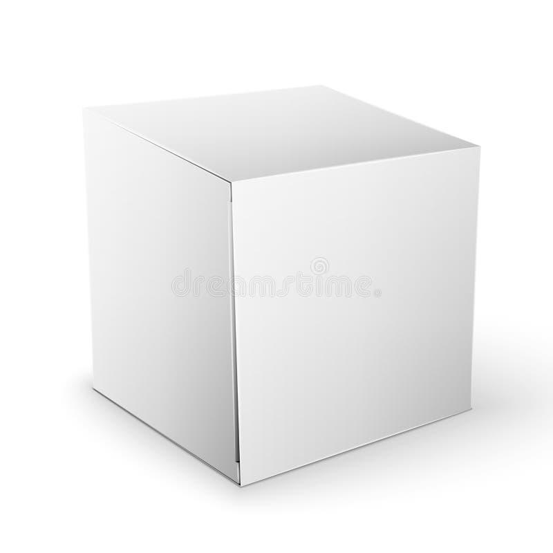 Weißer Produkt-Paket-Kasten-Spott herauf Schablone stockfotos