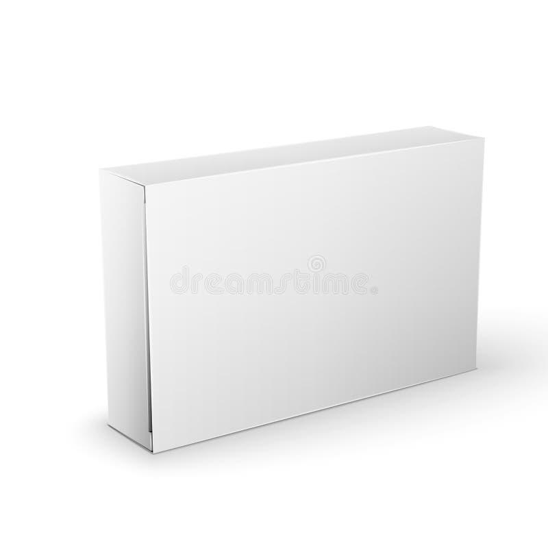 Weißer Produkt-Paket-Kasten-Spott herauf Schablone lizenzfreie stockfotografie