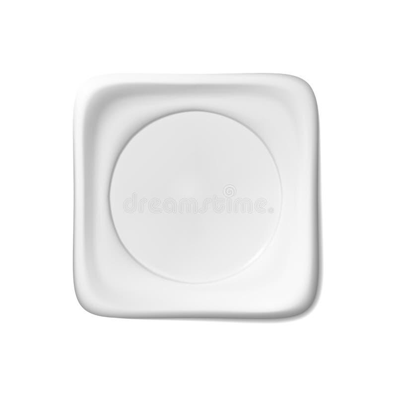 Weißer quadratischer Platte lokalisierter Vektorgegenstand auf einem hellen Hintergrund Küchenteller für Nahrung, Illustrationsel vektor abbildung