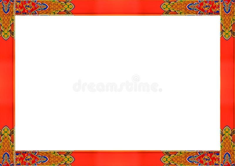 Weißer Rahmen mit hölzernen aufwändigen asiatischen Art-Grenzen vektor abbildung