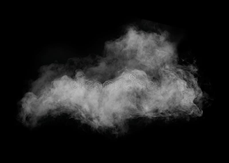 Weißer Rauch lokalisiert auf schwarzem Hintergrund stockbilder