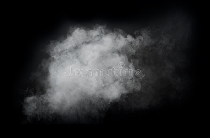 Weißer Rauch lokalisiert auf schwarzem Hintergrund lizenzfreies stockfoto