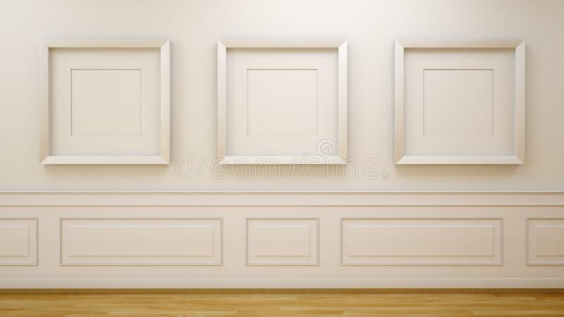 Weißer Raum mit leeren Rahmen stockfotos