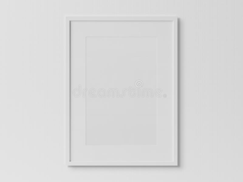 Weißer rechteckiger vertikaler Rahmen, der an einem weißen Wandmodell hängt vektor abbildung