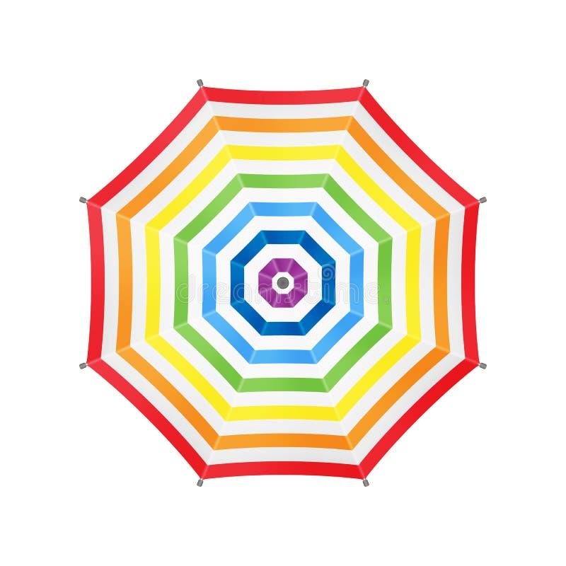 Weißer Regenschirm mit Regenbogen-Streifen Beschneidungspfad eingeschlossen Schablone für Ihr vektor abbildung