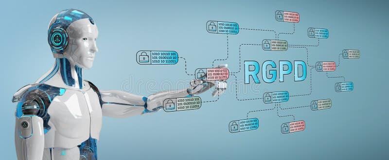 Weißer Roboter, der auf GDPR-Schnittstelle zerhackt und zugreift stock abbildung