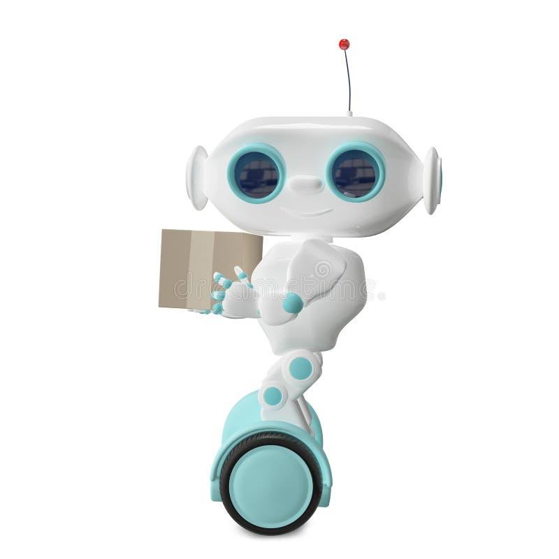 weißer Roboter der Illustrations-3d mit einem Kasten vektor abbildung