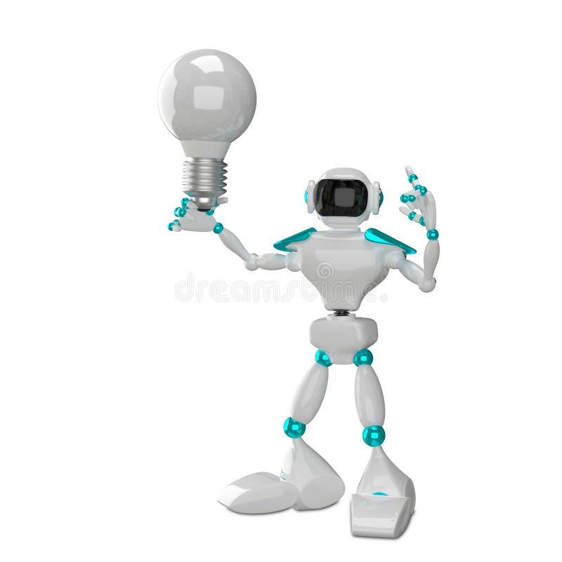 weißer Roboter der Illustrations-3D mit weißer Glühlampe stock abbildung
