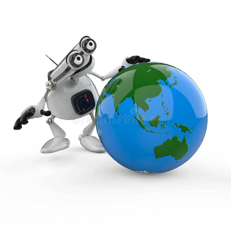 Weißer Roboter der Weinlese in einem weißen Hintergrund stock abbildung