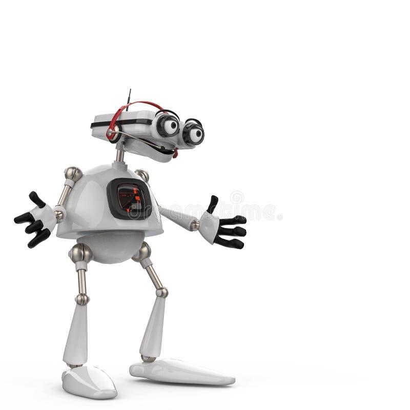 Weißer Roboter der Weinlese in einem weißen Hintergrund vektor abbildung
