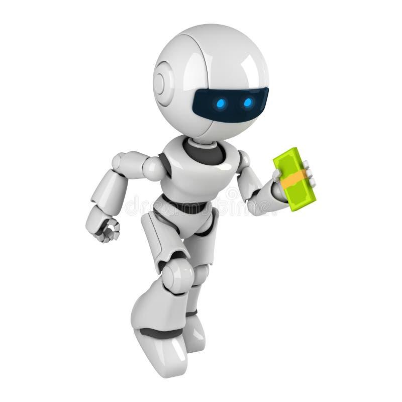 Weißer Roboter laufen gelassen mit Geld stock abbildung