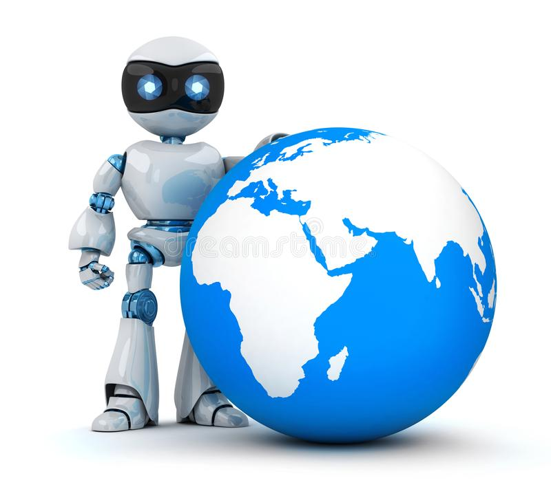 Weißer Roboter und blaue Erde lizenzfreie abbildung