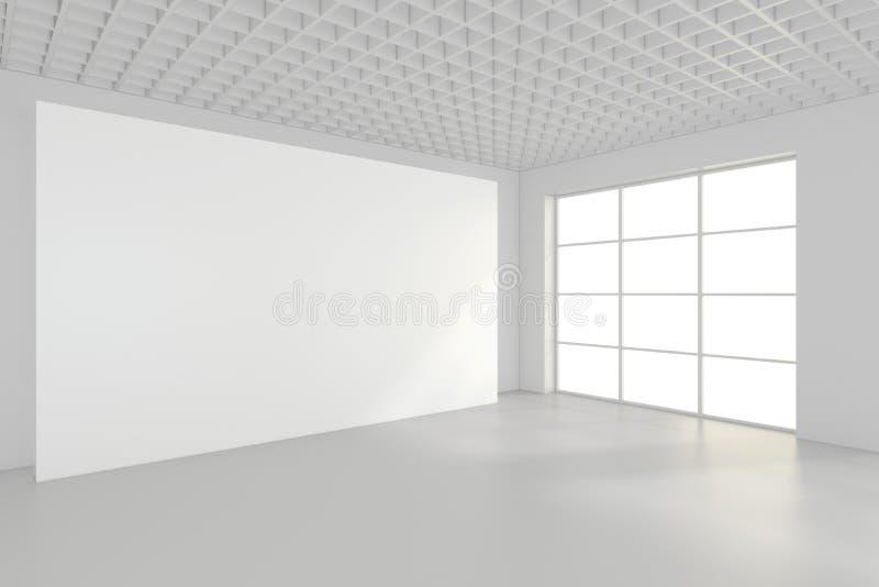 Weißer sauberer Innenraum mit leerer Anschlagtafel Wiedergabe 3d lizenzfreies stockbild