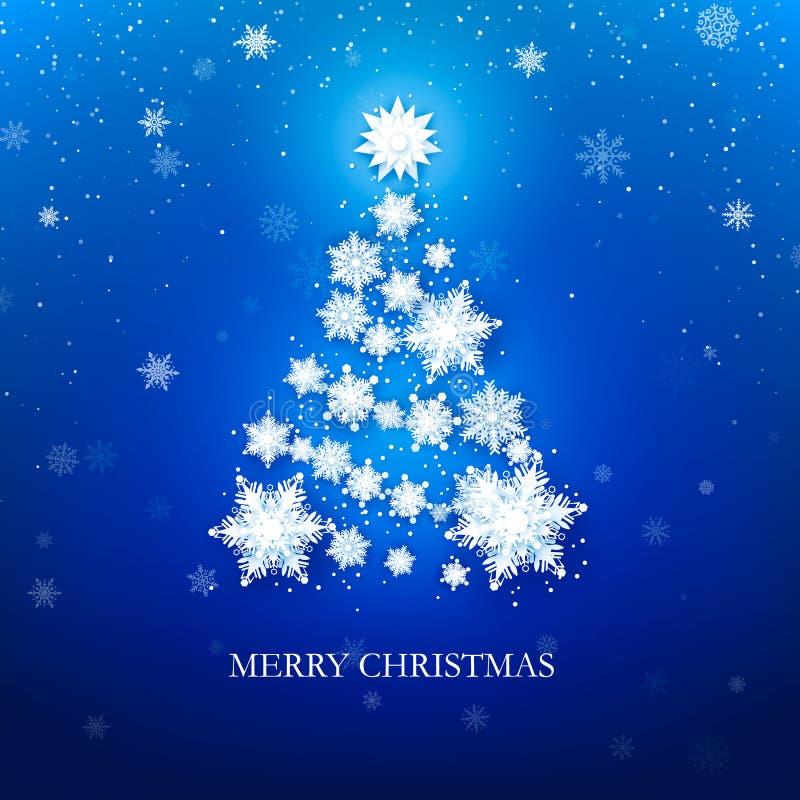 Weißer Schneeflocke Weihnachtsbaum auf blauem Hintergrund Weihnachtsmann auf einem Schlitten Auch im corel abgehobenen Betrag stock abbildung