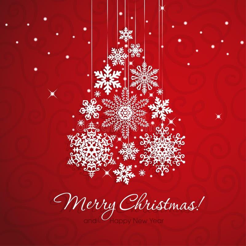 Weißer Schneeflocke Weihnachtsbaum auf rotem Hintergrund lizenzfreie abbildung