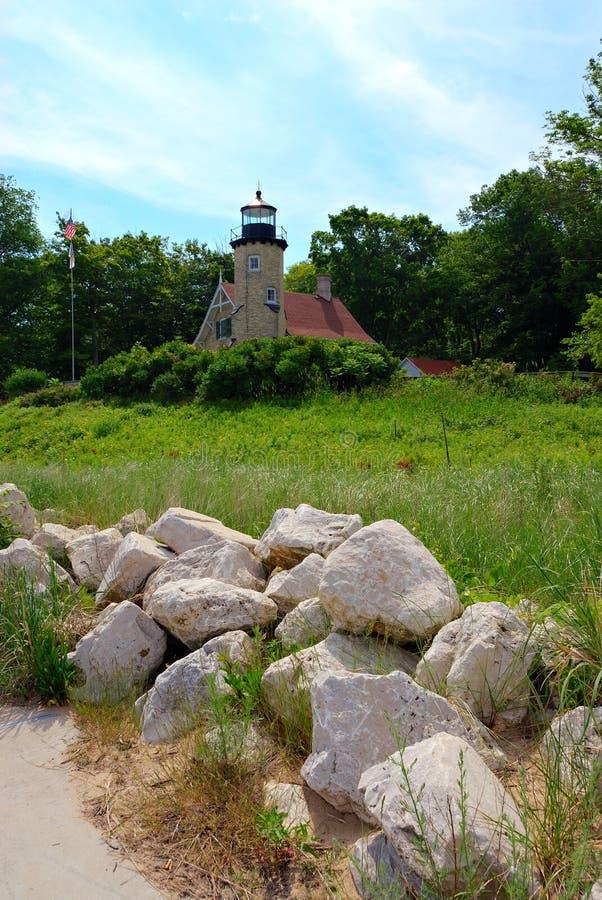 Weißer See-Leuchtturm stockfoto