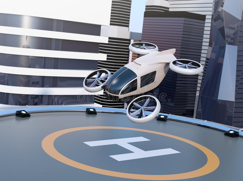 Weißer selbst-treibender Passagierbrummenstart und Landung auf dem Hubschrauber-Landeplatz lizenzfreie abbildung