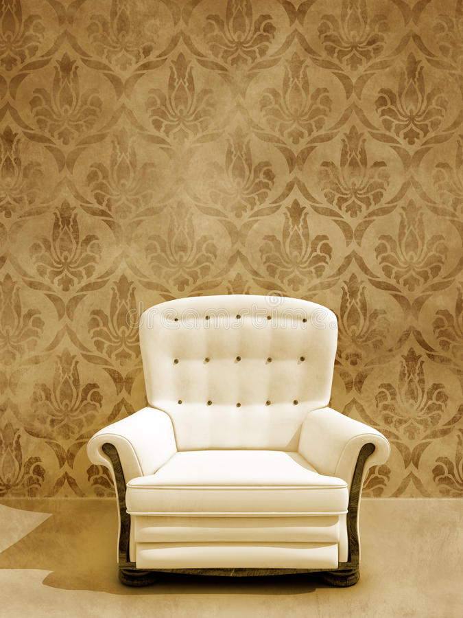 Weißer Sitz auf damasque Wand lizenzfreie stockfotografie