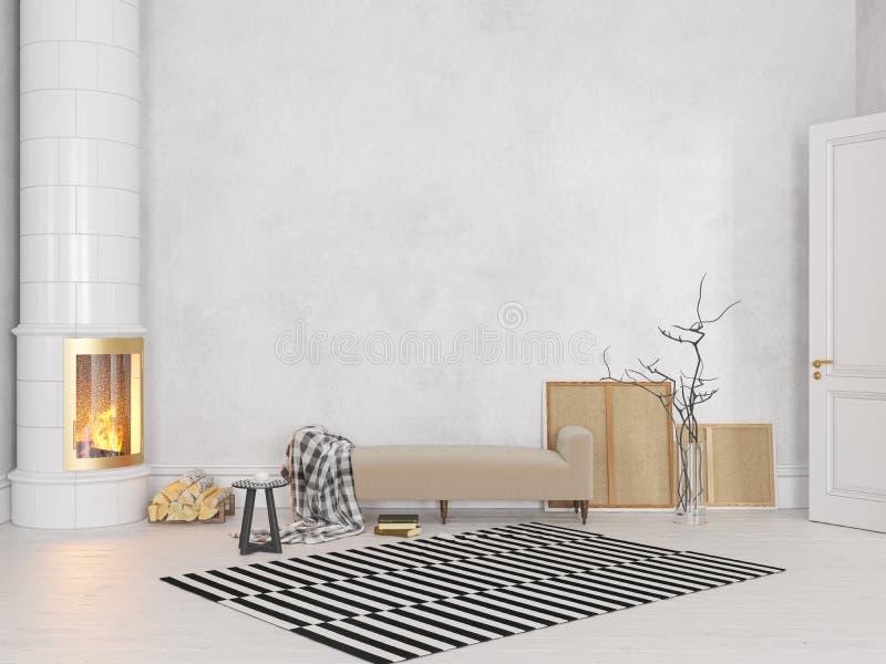 Weißer Skandinavier, klassischer Innenraum mit Couch, Ofen, Kamin, Teppich vektor abbildung