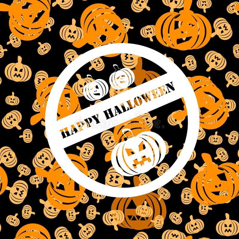 Weißer Stempel mit drei Kürbisen und Aufschrift glückliches Halloween lizenzfreie abbildung